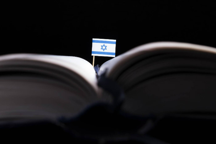Small Israeli flag sticking out of a textbook in dark lighting