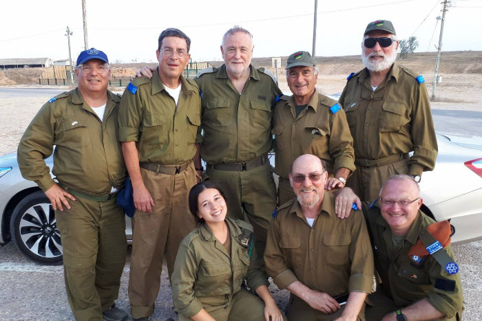 Group of Volunteers for Israel volunteers in IDF uniforms