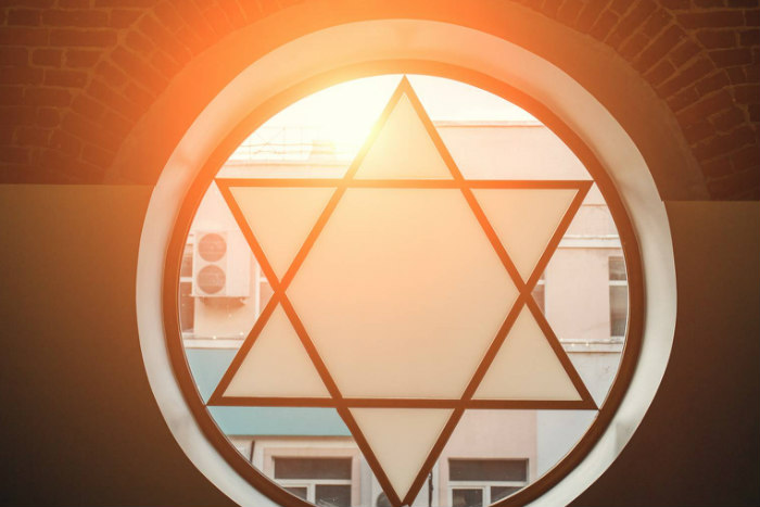 Star of David stained glass window