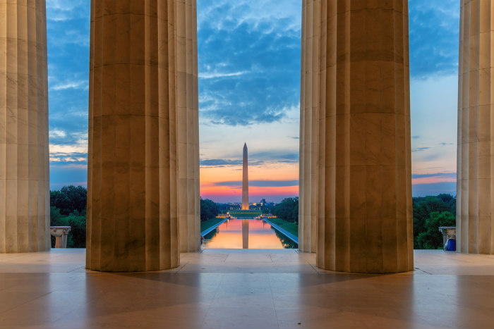 View of the Washington Monument through the columns of the Lincoln Memorial
