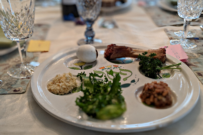 Seder plate on a set table