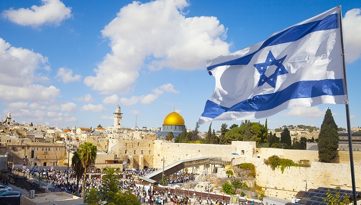 Israeli Flag and Western Wall