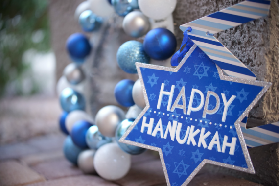 Hanukkah decorations in blue and silver