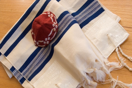 A Jewish prayer shawl, or tallit