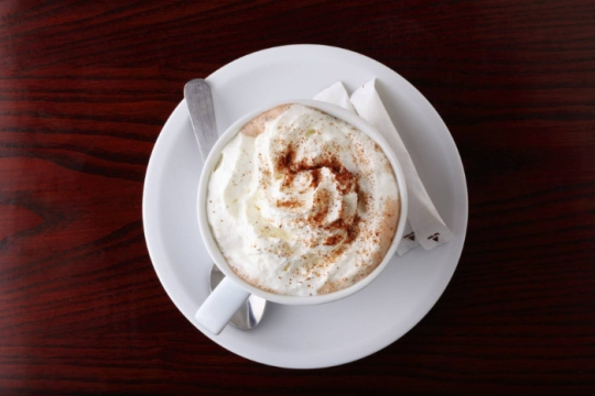Aerial view of hot chocolate topped with whipped cream in a white mug on a white plate