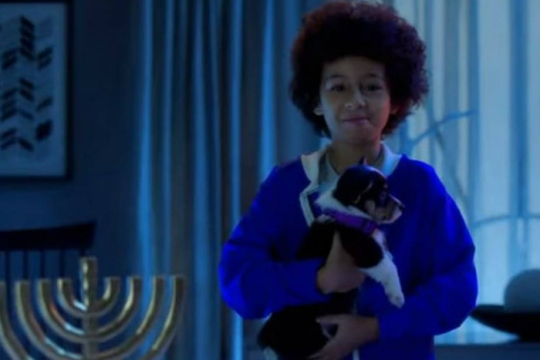 Screenshot from the video Puppy for Hanukkah of a child holding a puppy next to a Hanukkah menorah