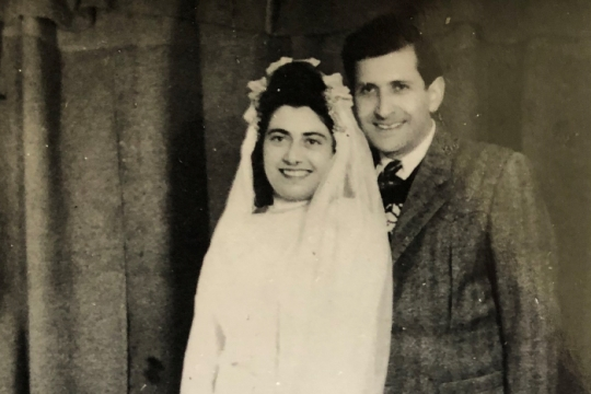 Black and white image of the authors parents on their wedding day