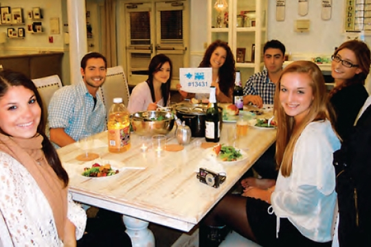 Students Sitting at Shabbat Table