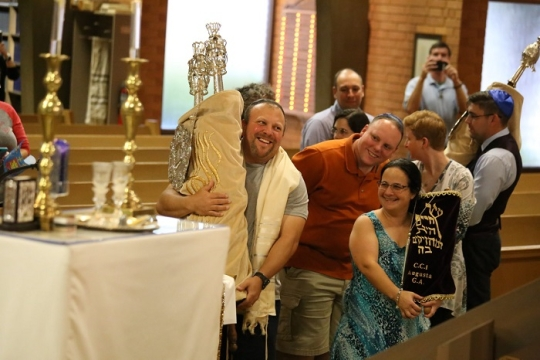 Congregation Children of Israel March with Torah Scrolls on Simchat Torah