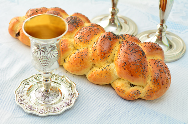 Wine, challah and candlesticks for Shabbat